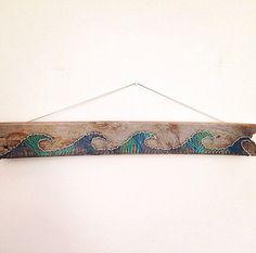 Beach ocean and waves reclaimed wood string art