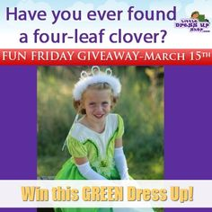 TIME FOR OUR FUN FRIDAY GIVEAWAY: St. Patrick's Day is Sunday (green pancakes anyone?). We'd like to give away our favorite glittering green dress...Princess Tiana! #giveaway #DressUp #kids