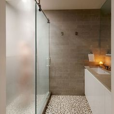 OPAQUE door, flooring for the shower door and LOVE the wall tile color and pattern