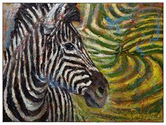 Oil Paint on Stretched Canvas 18 by 24 by 3/4 in./ original oil painting a art zebra african equestrian abstract horse animal pop