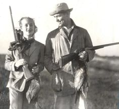 Carole Lombard and Clark Gable hunting together.