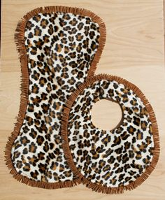 Leopard Bib and Burp Pad Western Cowgirl Baby by BarCRanchwear, $29.00