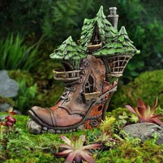 Miniature Fairy Garden Shoe Boot House - There Was an Old Woman Who Lived in a Shoe