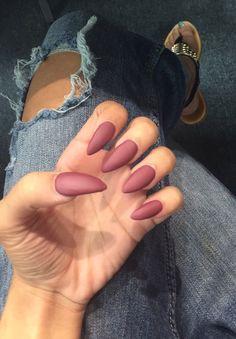 Flat Matte Dark Mauve Colored Fall Acrylic Stiletto Shaped Nails