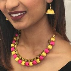 Handmade Silk Thread Necklace Set Silk Thread Necklace, Thread Jewellery, Long Tassel Earrings, Necklace Set, Jewelry Sets, Handmade, Color, Fashion, Moda