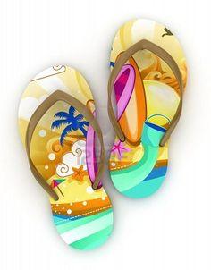 bca78d4f2 3D Illustration of Colorful Flip-flops