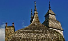 wood shingle tiles on the roof of La Saucerie, Orne Normandy.  Medieval architecture