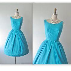 50's Chiffon Dress // Vintage 1960's Turquoise Chiffon Cocktail Party Prom Dress XS