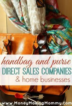 Do you love handbags and purses of all kinds? Ever thought about having your own home business that focuses on purses and handbags? But the stress of starting one up along seems risky. it's ok - there are many purse and handbag direct sales companies t Home Party Business, Best Home Based Business, Successful Home Business, Business Ideas, Cash From Home, Make Money From Home, Work From Home Opportunities, Work From Home Jobs, Direct Sales Companies