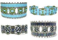 Free Twin (Super Duo) Bead Patterns including Twins and Tilas Bracelets, Twins Spiral Bracelet, a collection of free twins patterns, Patchwork Twins Bracelet and bonus Stacked Earrings using peanut beads, along with videos on using Twin Beads for beaded beads, circular stitch and peyote stitch.