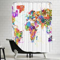Americanflat World Map 3 Shower Curtain & Reviews   Wayfair.ca