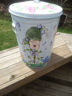 20 Gallon Hand Painted Galvanized Can by krystasinthepointe, $119.00