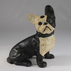 Cast iron bulldog or Boston Terrier figure, toy vintage Dog Door Stop, Cast Iron, It Cast, Dog Sculpture, Boston Terrier Dog, Antique Paint, Puppies, Statue, Weights
