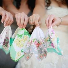 Wedding day accessory, handkerchiefs.