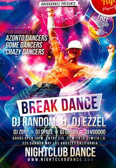 Break Dance Free Club and Party Flyer PSD Template…