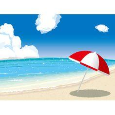 フリーイラスト, ベクター画像, EPS, 風景, 海, ビーチ(砂浜), 青空, ビーチパラソル, リゾート, バケーション, 南国