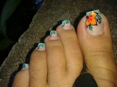 $3,50 Pedicure Designs, Toe Nail Designs, Toe Nail Art, Easy Nail Art, Pretty Toes, Pretty Nails, Cute Pedicures, Pretty Nail Designs, Feet Nails