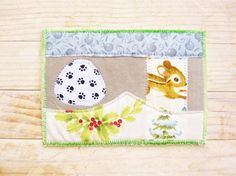 Christmas greeting card postcard patchwork quilted mouse snow spruce mistletoe paw prints gray green white unique textile art holiday gift by poppyshome on Etsy