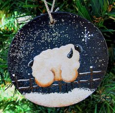 Sheep christmas ornament hand painted wood by for Sheep christmas ornament craft