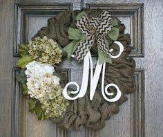 Monogram burlap wreath Year round wreath by theembellishedhome, $85.00