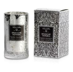 Voluspa Slender Petite Candle-Branche Vermeil-Distressed and speckled vintage silver vermeil graces these glass candles. Voluspa Candles, Candles And Candleholders, Scented Candles, Candle Box, Glass Candle, Beauty Boutique, Pretty Packaging, Photo Accessories, Smell Good