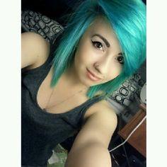 blue hair, nostril