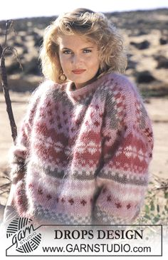 """DROPS jumper with pattern borders in """"Vienna"""". Ladies and men's sizes S – L. - Free pattern by DROPS Design"""