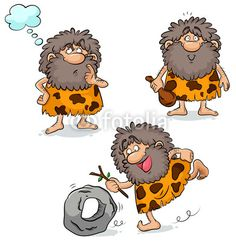 Illustration of set of three cartoon cavemen vector art, clipart and stock vectors. Cro Magnon, Paleo On The Go, Learning Time, Clip Art, Stone Age, Free Illustrations, Easy Drawings, Vector Art, Digital Art