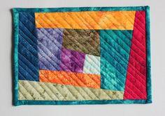Inspired by Fabric: Wonky Log Cabin Mug Rug Tutorial