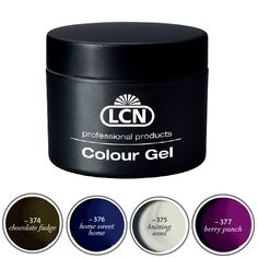 """Colour Gel """"Homecoming""""  LCN Trendfarben für Winter 2013: (- 374) chocolate fudge, (- 375) knitting wool, (- 376) home sweet home, (- 377) berry punch"""