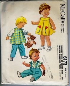 Vintage McCall's Pattern 6173 Baby Toddler Dress, Pants, Blouse Size 6 mos 1961