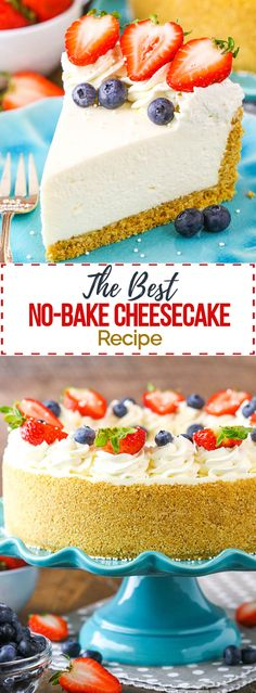 This No-Bake Cheesecake is an easy, no-fuss cheesecake recipe made completely from scratch! Made with whipped cream (instead of Cool Whip) and sour cream for the perfect cheesecake texture and flavor. Best No Bake Cheesecake, Sour Cream Cheesecake, Baked Cheesecake Recipe, Cheesecake Bites, Healthy Cheesecake Recipes, Birthday Cheesecake, Homemade Cheesecake, Classic Cheesecake, Pumpkin Cheesecake
