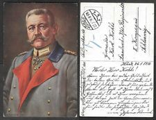1916 WWI German Postcard - von Hindenburg
