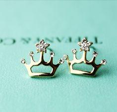 Elegant Cute Crown Shape Rhinestone Earrings. Yes PLEASE!!!