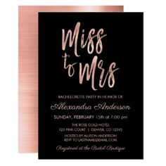 Miss to Mrs Pink Rose Gold Bachelorette Party Card  $2.01  by Hot_Foil_Creations  - custom gift idea