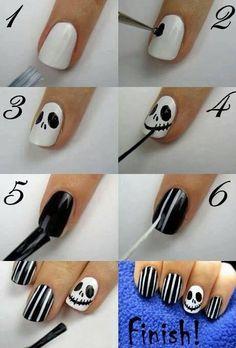 Skull and stripes in black n white #nails #nailart #polish - bellashoot.com