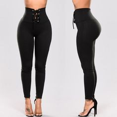 Black Lace-up High Waisted Slinky Leggings