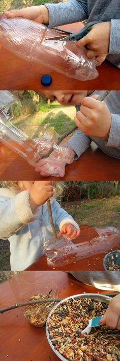 {Recylced Bird Feeder} What a fun way to learn about backyard birds...
