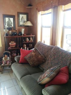A cozy southwestern corner invites a person to sit and read.