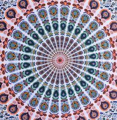 Orange & White Medallion Mandala Tapestry / Bedspread