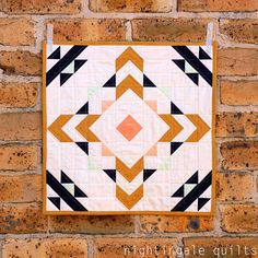 Ziggurat Mini Quilt Kit by Nightingale Quilts by Caroline Greco for Art Gallery Small Quilts, Mini Quilts, Art Gallery Fabrics, Quilting Projects, Quilting Designs, Southwestern Quilts, Blog Art, Mini Quilt Patterns, Miniature Quilts