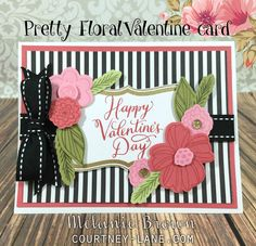 Pretty Floral Valentine card:  Springtime Wishes Stamp set & Frame It Up stamp which has been heat embossed with gold embossing powder. La Vie En Rose Paper & ribbon,