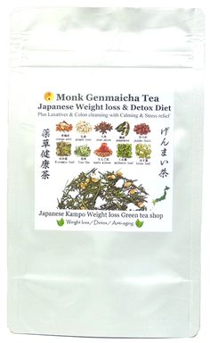 Monk Genmaicha tea  Traditional Japanese Weight loss & Detox Diet tea Plus Laxatives & Colon cleansing with calming & stress relief.