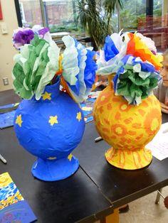 The Calvert Canvas: Adventures in Middle School Art!: Lower School Art Camp!  papier mache vases (and flowers)