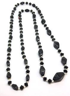 VTG ART DECO Czech Glass Egyptian Revival Black White Glass Bead Necklace | eBay