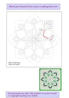 ED056 Green flower mandala on Craftsuprint designed by Emy van Schaik - Stitching with beads - Now available for download!: