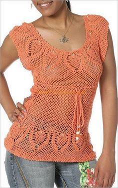 blusa a crochet calada con piñas