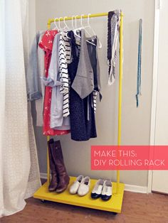 DIY: PVC: Laundry room - Rolling Clothes Rack.  Modify base for air flow, add extra shelf for mitts/hats, dowels to help hold upside down boots - this would be awesome to hang ski pants, coats & easily roll from front door to on top of a heater vent. Dry winter clothes faster! (maybe make it shorter for a second rack in closet?