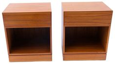 Arne Wahl Iversen Teak Danish Modern Nightstands End SideTables pair Description These Scandinavian Modernist, teak Danish tables were produced in Denmark by Vinde Mobelfabrik and designed by Arne Wahl Iversen, circa 1960's, elegant design with clean straight lines that make them sleek, minimalist pieces with functionality, iconic Scandinavian classic look, gorgeous hues of orange patina and fine grain patterns throughout, heavy construction with dovetail joinery and solid, carved teak wood…