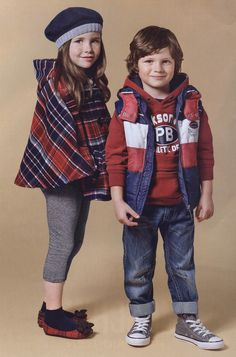 OVS Boy & Girl....love the plaid poncho.